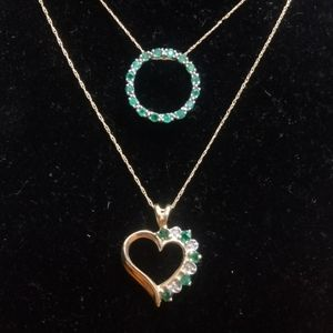 2 emerald and diamond necklaces